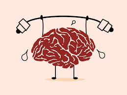 animated brain doing weightlifting