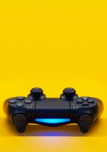 Console placed on yellow background